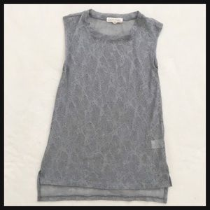 PAINTED THREADS | silver sheer lace tunic tank top